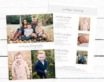 Photography Pricing Template, Family Session Marketing Board, Pricing Guide Template, Price List Photoshop Template, Photographer Price List