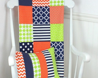 Baby Blanket, Patchwork Quilt, Minky Baby Blanket, Nursery Decor, Baby Quilt, Navy Blue, Lime Green, Orange, Navy, Lime, Chevron, Baby Boy