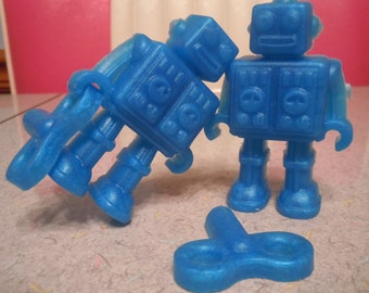 Robot Vegan Soap - Set of 2 Robots/2 Keys - You Pick ONE Color and Scent - guest bath decorative