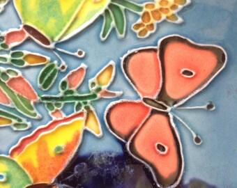 """Vintage  Ceramic Porcelain Tile featuring pretty butterflies with raised 3D detail- 4"""""""