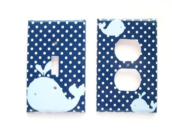 Whale Switchplate Cover - Nautical Nursery Room - Childs Room - Girls Room - Your color choices