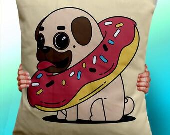 Pug doughnut cute dog - Cushion / Pillow Cover / Panel / Fabric