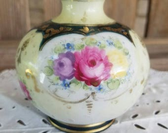 Vase with Roses - Small Hand-Painted - Bulbous-Shaped  – c. 1909