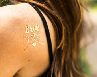 Bride Tattoos | Metallic Gold Temporary Tattoo, Bachelorette Team Bride Tribe, Beach Bachelorette Party Tattoo Favor, Pool Bachelorette