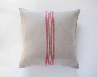 Farmhouse throw pillows - farmhouse decor - throw pillows - cushion case - red stripes throw pillow - 16x16 0292