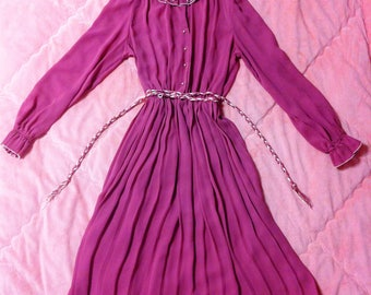 1970s Vintage Mauve Pink Dress, 70s Vintage Rose Pink Dress, Vintage Pink Dress
