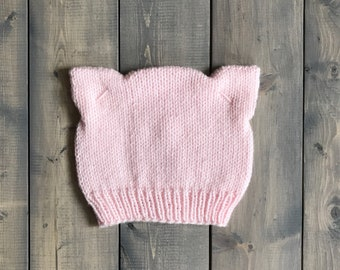 Adult Pink Cat Ear Hat