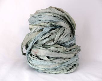 5 yards gorgeous NONPAREIL recycled silk ribbon beautiful Happy Day BLUE SEAGLASS watercolor neutral washed out hand dyed with love