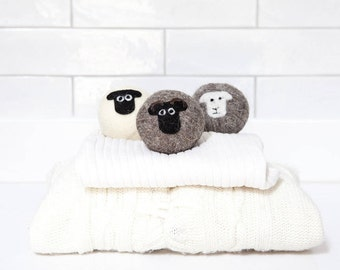 Wool dryer balls, mixed sheep breed, felted laundry balls, reusable, chemical free laundry, natural fabric softener