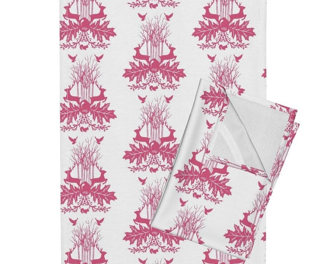 Woodland Crest - Pink Tea Towel