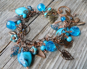 Flowers and Leaves Charm Bracelet, Cha Cha in Brass and Blue