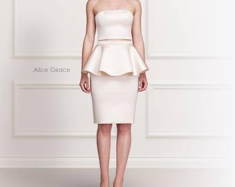 Pearl Stretch Satin Two Piece Peplum Skirt Dress