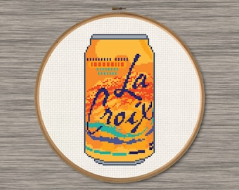 La Croix Tangerine Orange Soda Can - PDF Cross Stitch Pattern