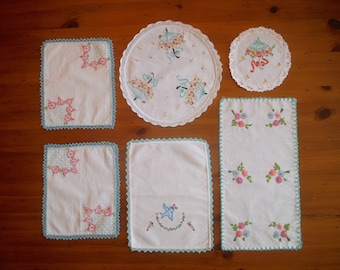 6 Vintage Embroidered Floral Linens - Embroidery Crochet Crocheted Seafoam Green Pink Flowers Umbrellas Table Linens Lot - Bulk Embroidery