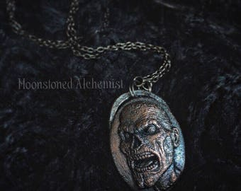 Zombie Cameo Necklace - copper zombie amulet - walking dead necklace