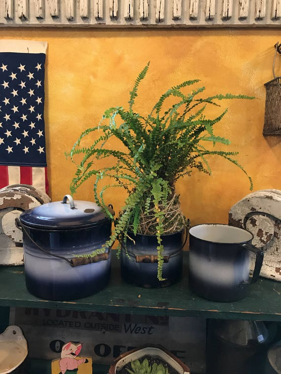 Vintage 3 pc set vintage Graniteware Pails 1930s cobalt Blue & White