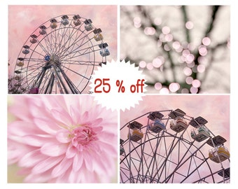 Pink nursery art, baby girl room decor, little girl room art, pink carnival ferris wheel, flower photography, nursery print set 4 pictures
