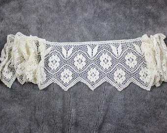 Vintage Big Crotcheted Curtain Coat Coffee Curtain  Valance Garland - Hand Crotchet 70s Handmade Bone White Cotton Well Made Very Long