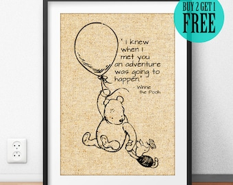 Winnie the Pooh Quote, Burlap Print, Pooh & Piglet, Disney Home Decor, Baby Nursery Decor, Friendship Gift, Best Friend Birthday Gift, SD72