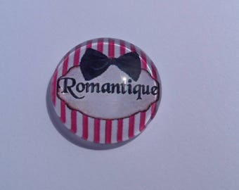 Romantic writing in 25 mm round domed cabochon