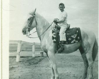 1930s Little Boy Riding Big White Horse Indian Saddle Blanket Ranch 30s Antique Vintage Photograph Black White Photo