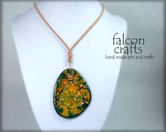 pendant green yellow eggshell mosiac handmade,teardrop shape eggshell pendant,alcohol ink,faux suede,copper wire,gift green yellow,handmade