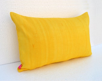 "Silk pillow, yellow color, lumbar pillowcover, size 12""X20"", other sizes available"