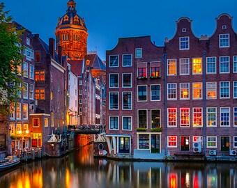 Netherlands - Amsterdam - Nightview of Nicolaaskerk - SKU 0121