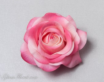 Cream Pink Rose Hair Clip, Real Touch Wedding Hair Fascinator Hair Head Piece. bridesmaids, prom Real Touch Flowers. Tea Rose Collection