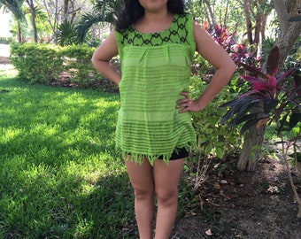 Traditional mexican lemon green with detail blouse of loom