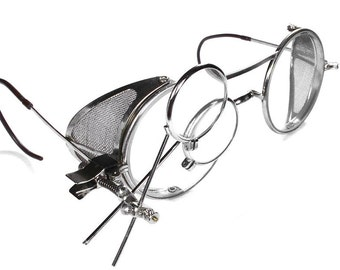 Steampunk Vintage Goggles Antique WELSH Steam Punk Glasses Mesh Side Shields Hot Rod 2 Magnifier Loupes EXQUISITE - Steampunk by edmdesigns