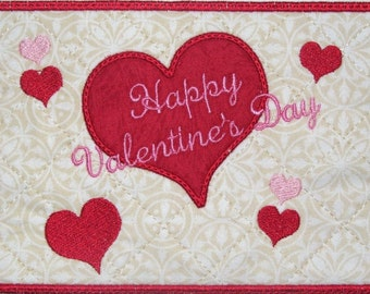 Machine Embroidery Design-Mug Rug-Happy Valentine's Day with applique Heart with 2 sizes, 5x7 and 6x10 hoops