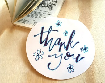 Thank you | handmade | ink card | Thank You Card | Thanks | Purple and Blue Flowers.
