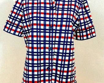Vintage // L XL \\ Women's Button-down Plaid Navy+Red+Yellow+White CUFFED