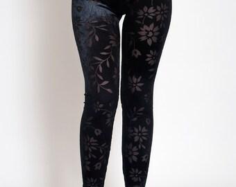Black Velvet leggings with transparent flowers. Velvet Lace Gothic Pants. Floral Leggings.