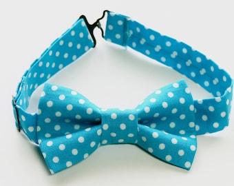 Bow Tie - Blue & White Polka Dot Bowtie