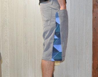 Patchwork Corduroy Shorts Gray Blue Hippie Handmade Festival Heady Upcycled Mens 32