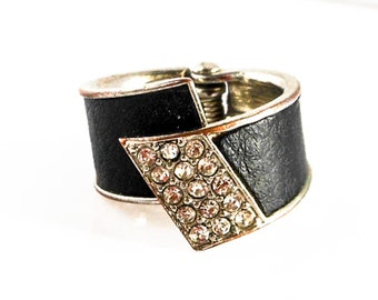 Faux Black Leather & White Diamond Rhinestone Ring   size 5 1/2