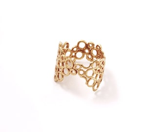 Filigree ring, Unique Gold Rings for Women, Asymetrical Ring, Wide v ring Gold Circles ring, Bubbles Ring, unique rings, Molecule ring