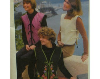 Tie-on Vests Pattern, Side/Front Ties, Tabbard, V-neck/Square Neck, Lined, Banded, Floral Embroidery, Butterick No. 4961 Size Medium 12-14