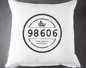 Custom Vintage Zip Code, Throw Pillow, Pillow Cover, Farmhouse Pillow, Home Decor, Gift, Housewarming Gift, Pillow, Your Zip Code and City