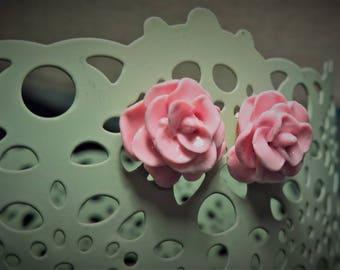 Pretty in Light Pink Rose Earrings