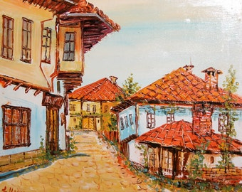 Vintage oil painting country scene village signed