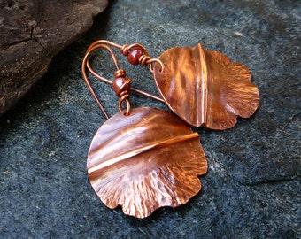 Copper jewelry Round copper earrings Fold formed jewelry Flame patina earrings Dangle & Drop earrings Hammered copper OOAK Artisan jewelry