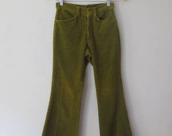 Vintage '60s/'70s Olive Green Wide Wale Corduroy Low Rise Bell Bottoms, 27 x 29
