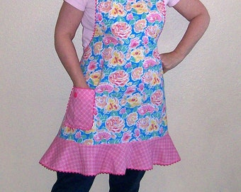 Pink and Blue Floral Retro Apron with Flounce - Retro Kitchen Apron - Woman Full Apron - Size L