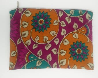 Pouch made from printed Indian upcycled sari