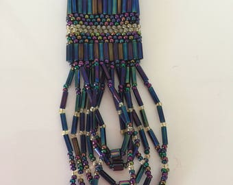 vintage handmade beaded necklace 1990, boho