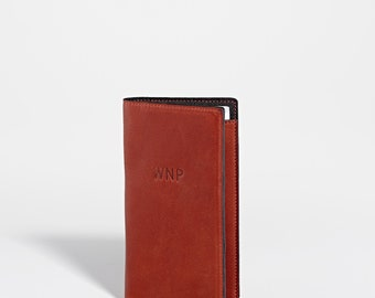 Personalized Leather Travel Wallet | Custom Leather Monogram Passport Holder Cover Groomsmen Gift for Man Woman Grad | Simple Wedding Gift