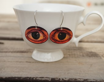 Eyeball earrings, Statement earrings, Gag, Fun earrings, Creepy jewelry, Weird jewelry, Art jewelry, Quirky jewelry, Antique images Sterling